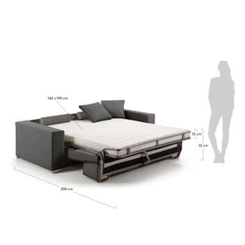 Divano letto 2 piazze 140x196 cm con materasso color grafite